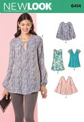 6414 New Look Pattern: Misses' Tunic and Top with Neckline Variations